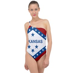 Flag Map Of Arkansas Classic One Shoulder Swimsuit by abbeyz71