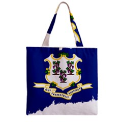 Flag Map Of Connecticut Zipper Grocery Tote Bag by abbeyz71