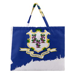 Flag Map Of Connecticut Zipper Large Tote Bag by abbeyz71