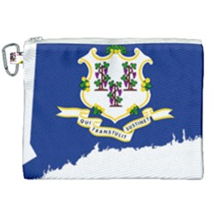 Flag Map Of Connecticut Canvas Cosmetic Bag (xxl) by abbeyz71