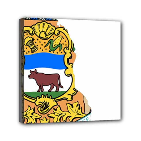 Flag Map Of Delaware Mini Canvas 6  X 6  (stretched) by abbeyz71