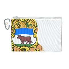 Flag Map Of Delaware Canvas Cosmetic Bag (large) by abbeyz71