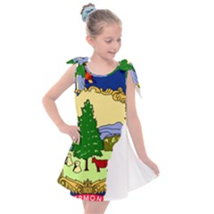 Flag Map Of Vermont Kids  Tie Up Tunic Dress by abbeyz71