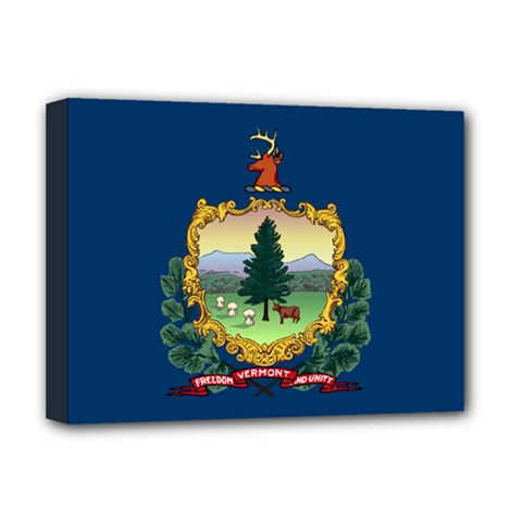 Flag Of Vermont Deluxe Canvas 16  X 12  (stretched)  by abbeyz71