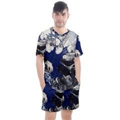 Black And Blue Men s Mesh Tee And Shorts Set by WILLBIRDWELL