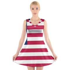 Flag Of Vermont, 1837-1923 V-neck Sleeveless Dress by abbeyz71