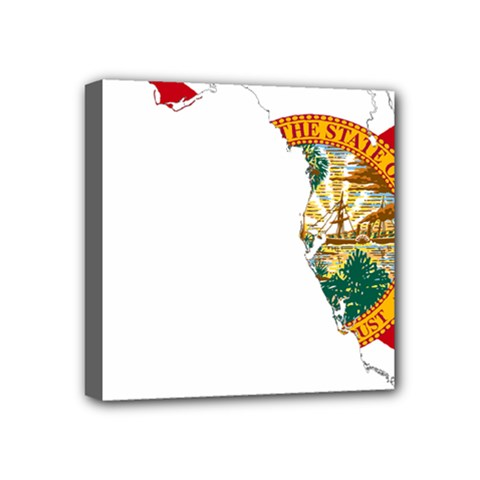 Flag Map Of Florida  Mini Canvas 4  X 4  (stretched) by abbeyz71