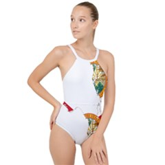 Flag Map Of Florida  High Neck One Piece Swimsuit