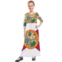 Flag Of Florida Kids  Quarter Sleeve Maxi Dress