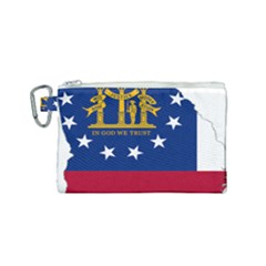 Flag Map Of Georgia Canvas Cosmetic Bag (small) by abbeyz71