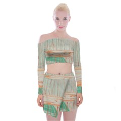 Wheat Field Off Shoulder Top With Mini Skirt Set