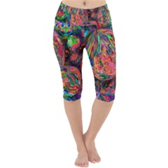 Rainbow Bubbles Abtract Lightweight Velour Cropped Yoga Leggings