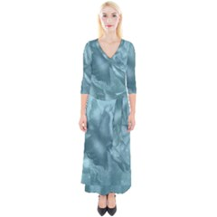 Wonderful Blue Soft Roses Quarter Sleeve Wrap Maxi Dress