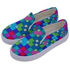 Retro Squares                                       Kids  Canvas Slip Ons by LalyLauraFLM