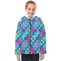 Retro Squares                                            Kids  Hooded Puffer Jacket