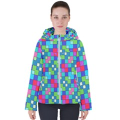 Retro Squares                                            Women s Hooded Puffer Jacket by LalyLauraFLM