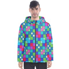 Retro Squares                                             Men s Hooded Puffer Jacket by LalyLauraFLM