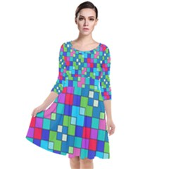 Retro Squares                                               Quarter Sleeve Waist Band Dress