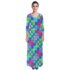 Retro Squares                                               Quarter Sleeve Maxi Dress by LalyLauraFLM