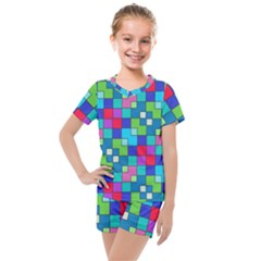 Retro Squares                                             Kids  Mesh Tee And Shorts Set
