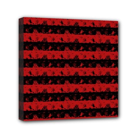 Blood Red And Black Halloween Nightmare Stripes  Mini Canvas 6  X 6  (stretched) by PodArtist