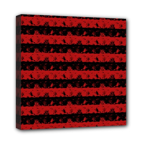 Blood Red And Black Halloween Nightmare Stripes  Mini Canvas 8  X 8  (stretched) by PodArtist