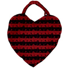 Blood Red And Black Halloween Nightmare Stripes  Giant Heart Shaped Tote
