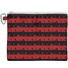Blood Red And Black Halloween Nightmare Stripes  Canvas Cosmetic Bag (xxxl) by PodArtist