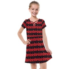 Blood Red And Black Halloween Nightmare Stripes  Kids  Cross Web Dress