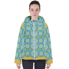 Green Blue Shapes                                           Women s Hooded Puffer Jacket by LalyLauraFLM