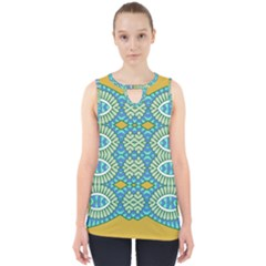 Green Blue Shapes                                            Cut Out Tank Top