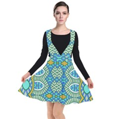 Green Blue Shapes                                          Plunge Pinafore Dress