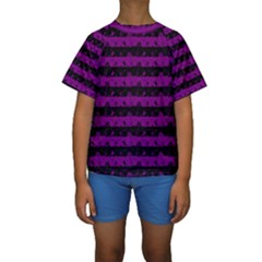 Zombie Purple And Black Halloween Nightmare Stripes  Kids  Short Sleeve Swimwear by PodArtist