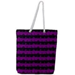 Zombie Purple And Black Halloween Nightmare Stripes  Full Print Rope Handle Tote (large) by PodArtist