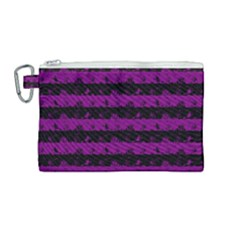 Zombie Purple And Black Halloween Nightmare Stripes  Canvas Cosmetic Bag (medium)