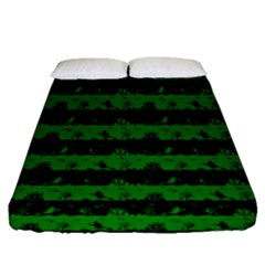 Alien Green And Black Halloween Nightmare Stripes  Fitted Sheet (queen Size)