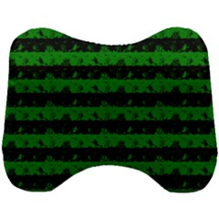 Alien Green And Black Halloween Nightmare Stripes  Head Support Cushion