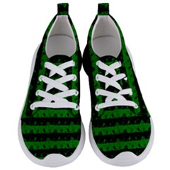 Alien Green And Black Halloween Nightmare Stripes  Women s Lightweight Sports Shoes