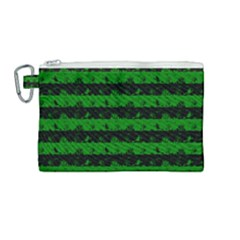 Alien Green And Black Halloween Nightmare Stripes  Canvas Cosmetic Bag (medium)