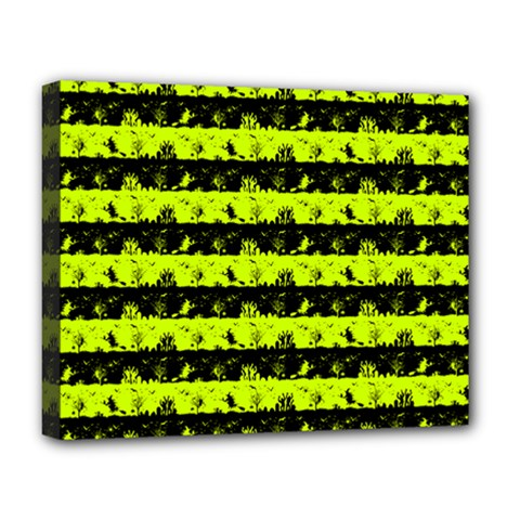 Slime Green And Black Halloween Nightmare Stripes  Deluxe Canvas 20  X 16  (stretched) by PodArtist