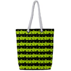 Slime Green And Black Halloween Nightmare Stripes  Full Print Rope Handle Tote (small) by PodArtist