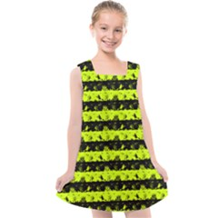 Slime Green And Black Halloween Nightmare Stripes  Kids  Cross Back Dress