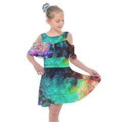 3d Paint                                         Kids  Shoulder Cutout Chiffon Dress