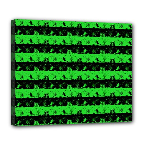 Monster Green And Black Halloween Nightmare Stripes  Deluxe Canvas 24  X 20  (stretched) by PodArtist