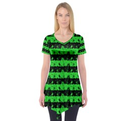 Monster Green And Black Halloween Nightmare Stripes  Short Sleeve Tunic  by PodArtist