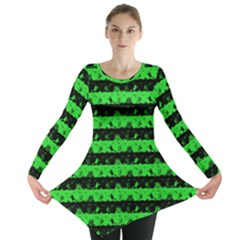 Monster Green And Black Halloween Nightmare Stripes  Long Sleeve Tunic  by PodArtist