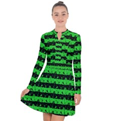 Monster Green And Black Halloween Nightmare Stripes  Long Sleeve Panel Dress