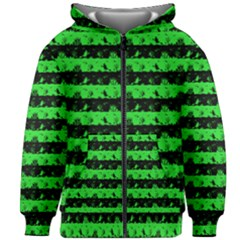 Monster Green And Black Halloween Nightmare Stripes  Kids Zipper Hoodie Without Drawstring