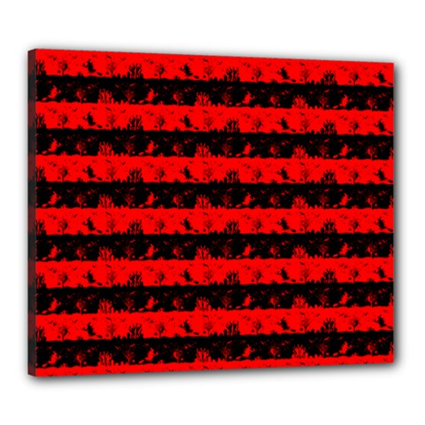 Red Devil And Black Halloween Nightmare Stripes  Canvas 24  X 20  (stretched) by PodArtist