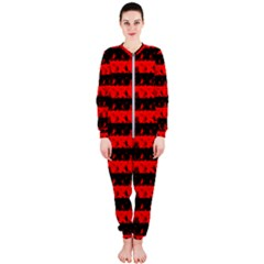 Red Devil And Black Halloween Nightmare Stripes  Onepiece Jumpsuit (ladies)  by PodArtist